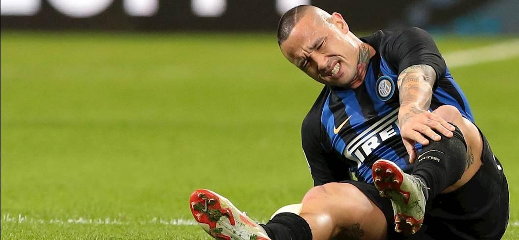 Nainggolan dolorante durante il Derby (Getty Images)