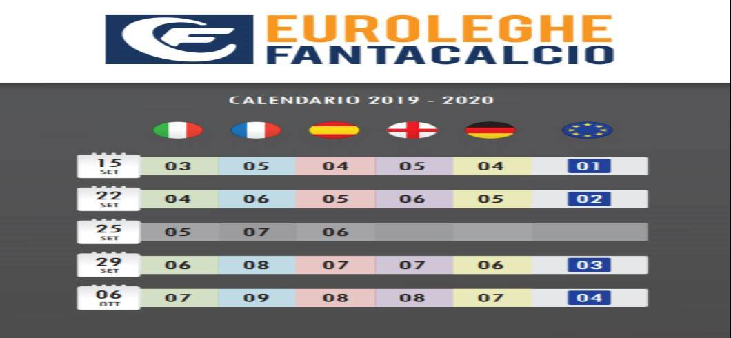 Calendario Fantacalcio.Euroleghe Fantacalcio Superlega Edition 2019 2020 Arriva