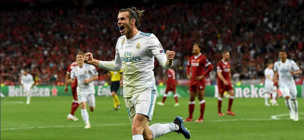 Bale festeggia la rete, Real Madrid-Liverpool (Getty)