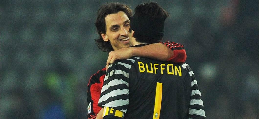 Buffon e Ibra nel 2011 (getty)