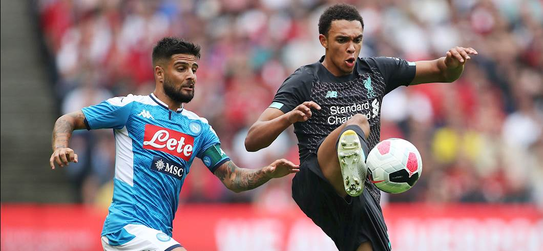Insigne affronta Alexander-Arnold, Liverpool-Napoli 0-3 (Getty Images)