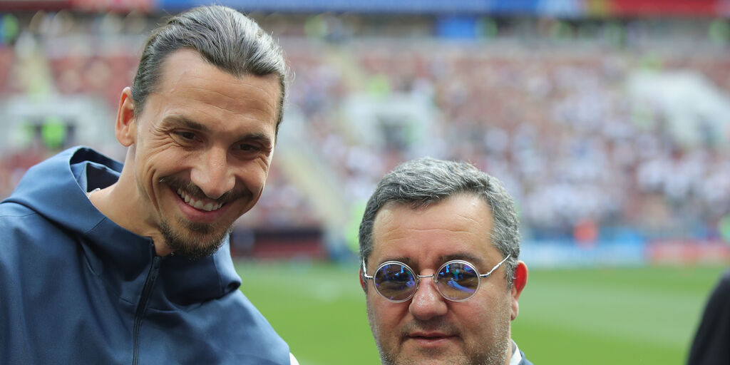 """Il solito Raiola: """"Ibrahimovic ha resuscitato il Milan, è il 90% rossonero"""" (Getty Images)"""