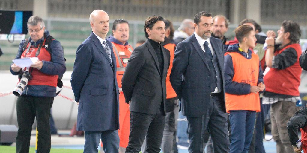 Marco Fassone, Vincenzo Montella e Massimiliano Mirabelli  (Getty Images)