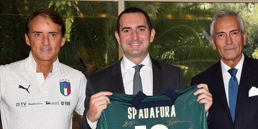 Roberto Mancini, Vincenzo Spadafora, Gabriele Gravina (Getty Images)