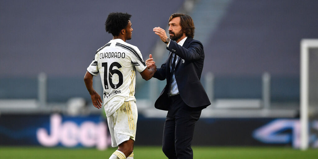 Pirlo si complimenta con Cuadrado al termine di Juventus-Inter (Getty Images)