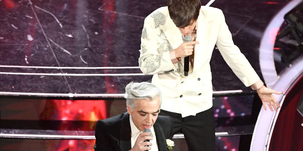 Morgan and Bugo, il 6 febbraio 2020, al 70° Festival di Sanremo (Getty Images)