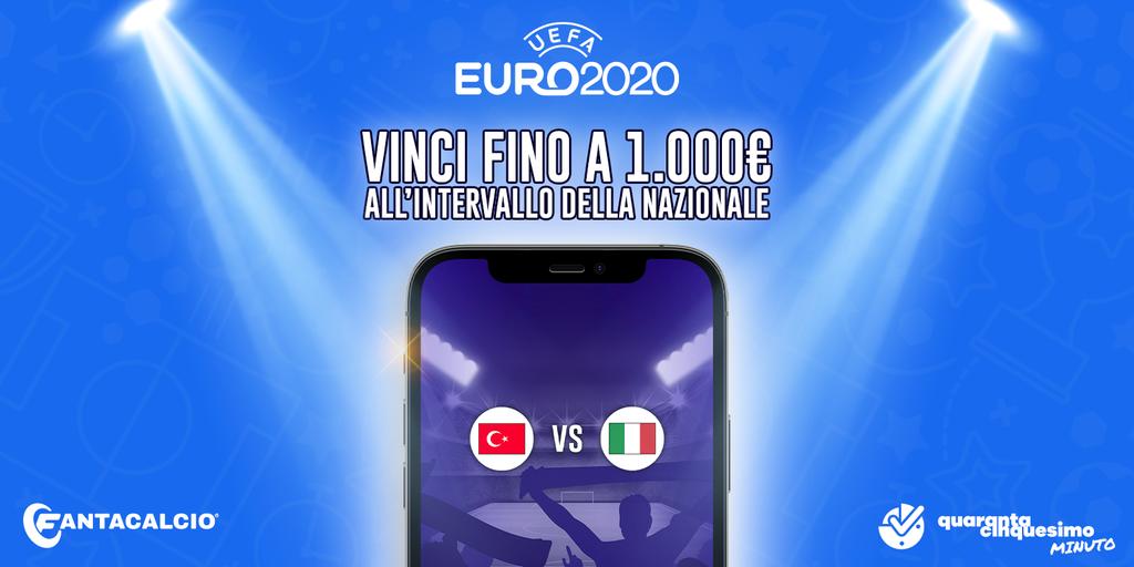 Euro 2020: gioca e vinci al quiz di 45° minuto durante Turchia-Italia con in palio 1.000€